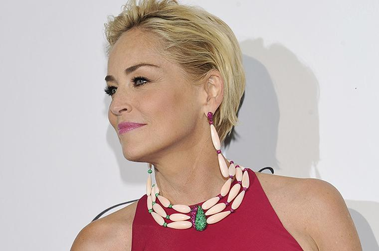 Sharon Stone in de Grisogono pink coral necklace at Cannes Film Festival 2014