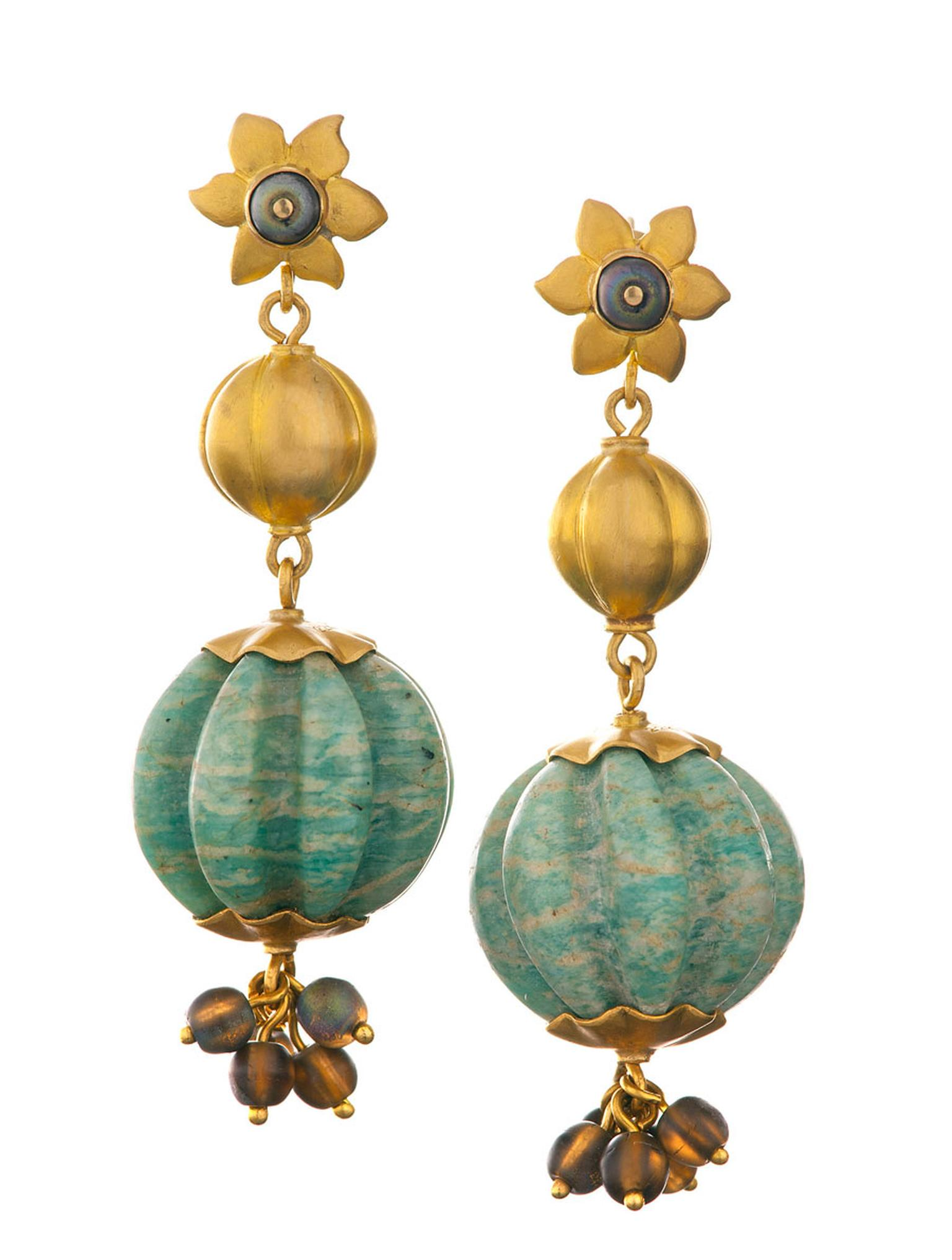 Lisa-Black-Turquoise-and-Gold-Melon-Bead-Earrings