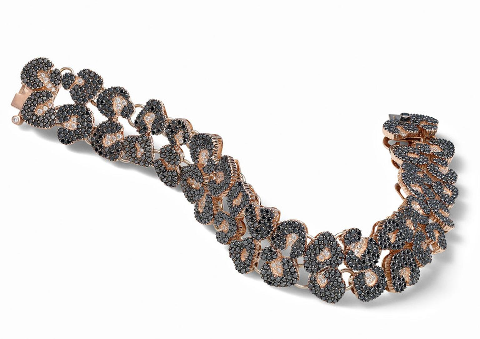 HStern-Rose-gold-black-and-white-diamonds-bracelet-jaguar-inspired