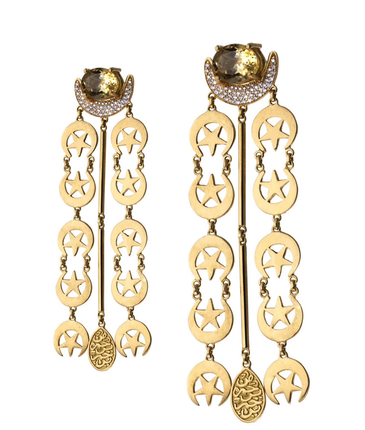 Azza-Fahmy-18ct-Gold-Crescent-Earrings-with-semi-precious-st
