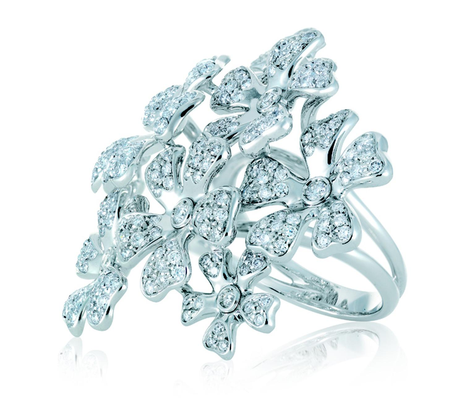 De Beers. Wildflowers Statement ring, white gold and diamonds.