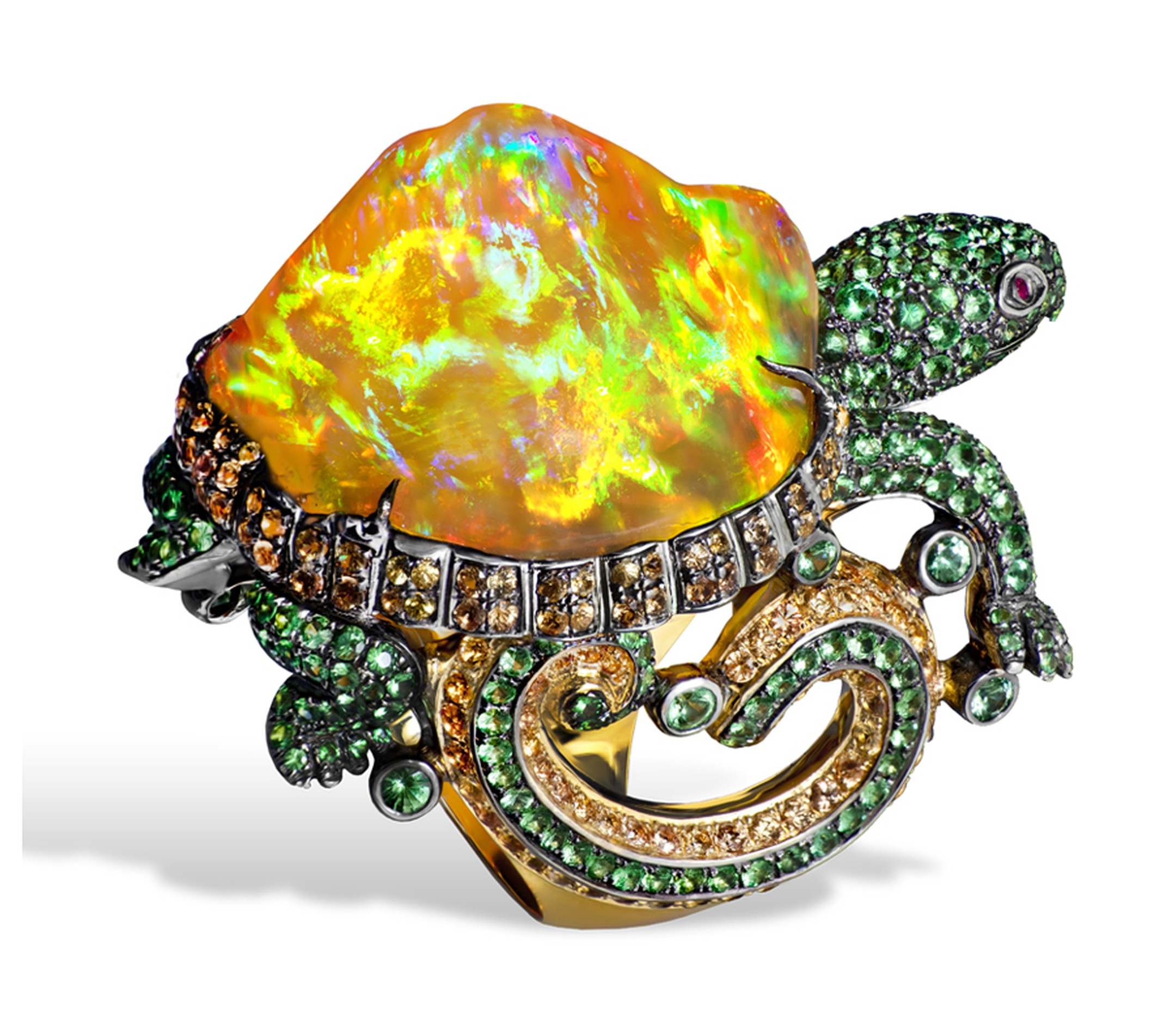 Lydia Courteille. Turtle ring with orange Mexican opal, orange sapphires, green garnets, yellow gold. POA