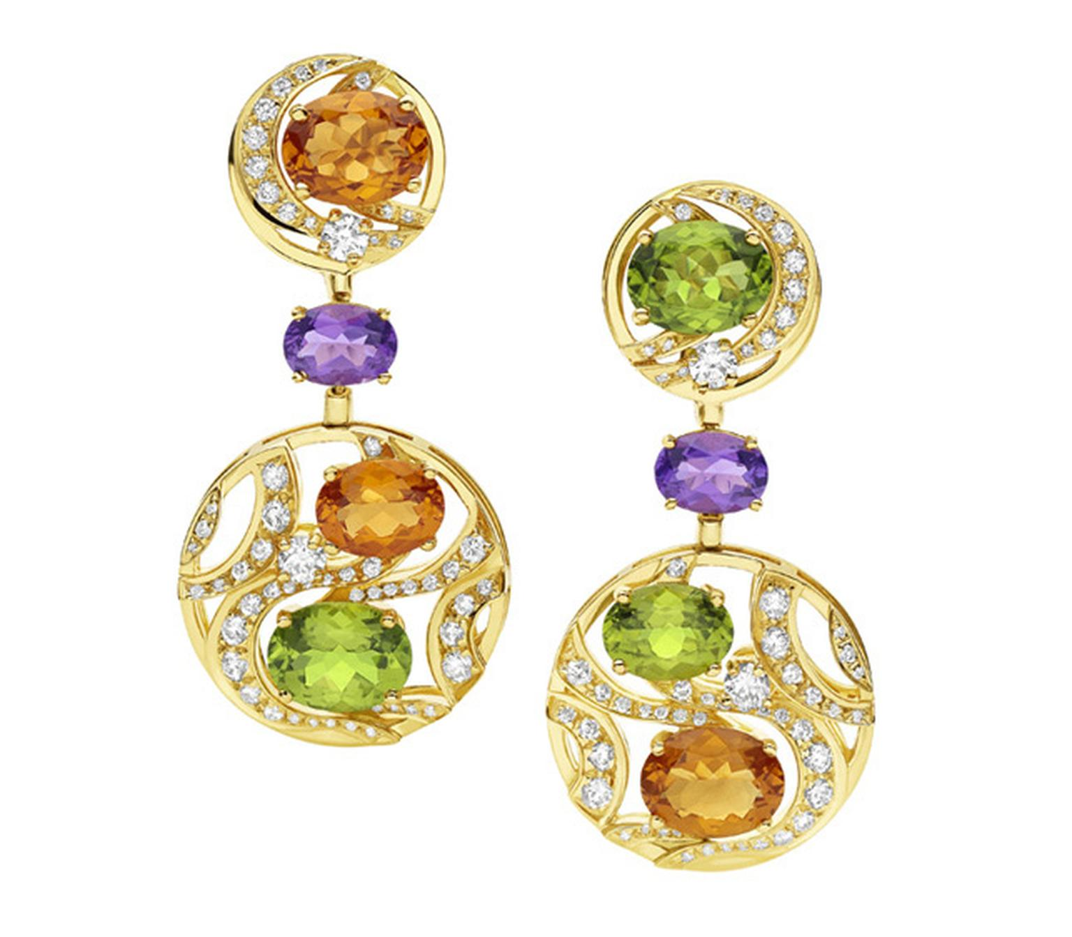 Bulgari. Mediterranean Eden yellow gold earrings with citrine quartzes, peridots, amethysts, diamonds and pave´ diamonds.