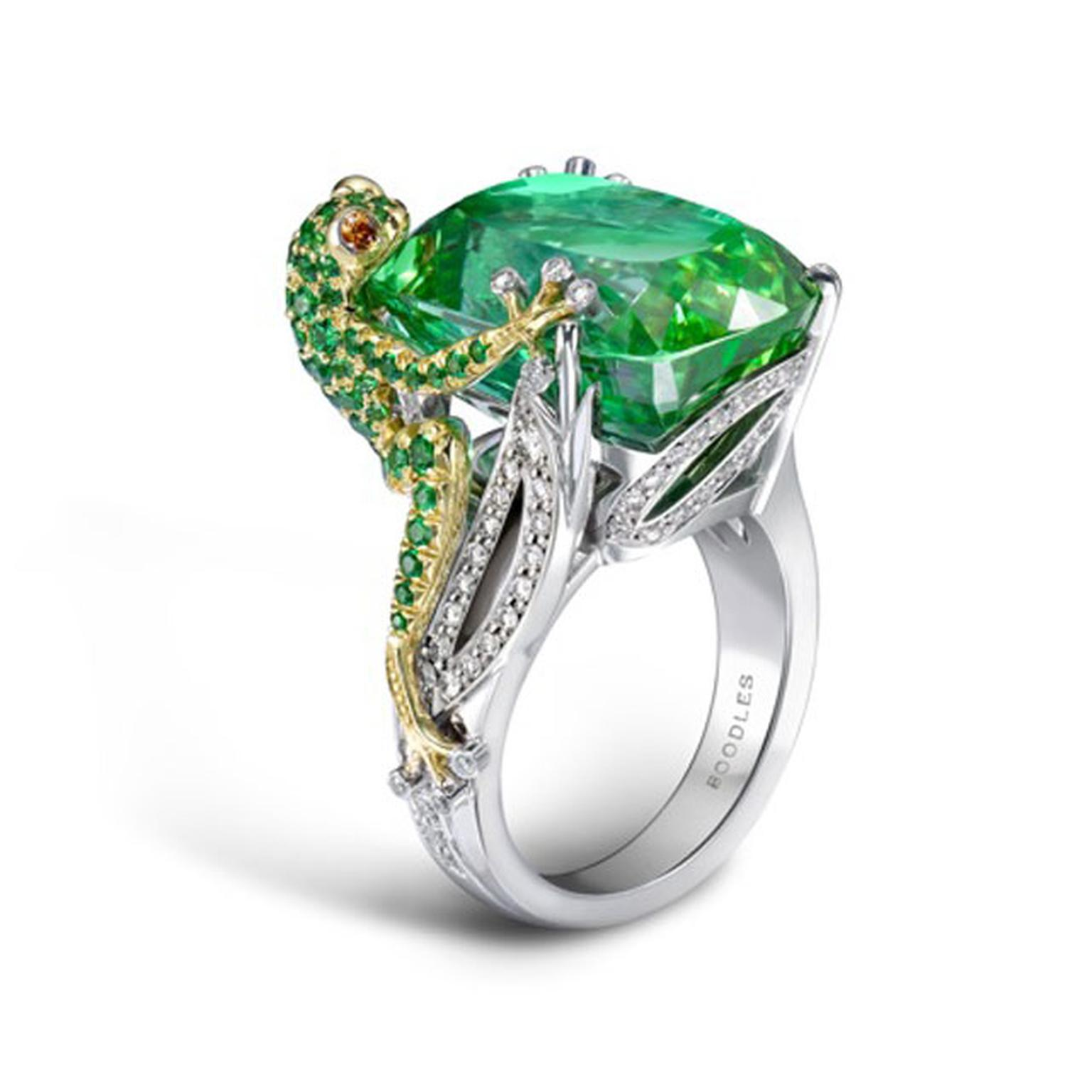 BOODLES,-Green-Frog.-A-green-tourmaline-frog-design-ring-in-platinum-and-18ct-yellow-gold.-The-centre-stone-is-over-20cts.-His-little-body-is-made-up-of-tourmaline-stones. £36,200
