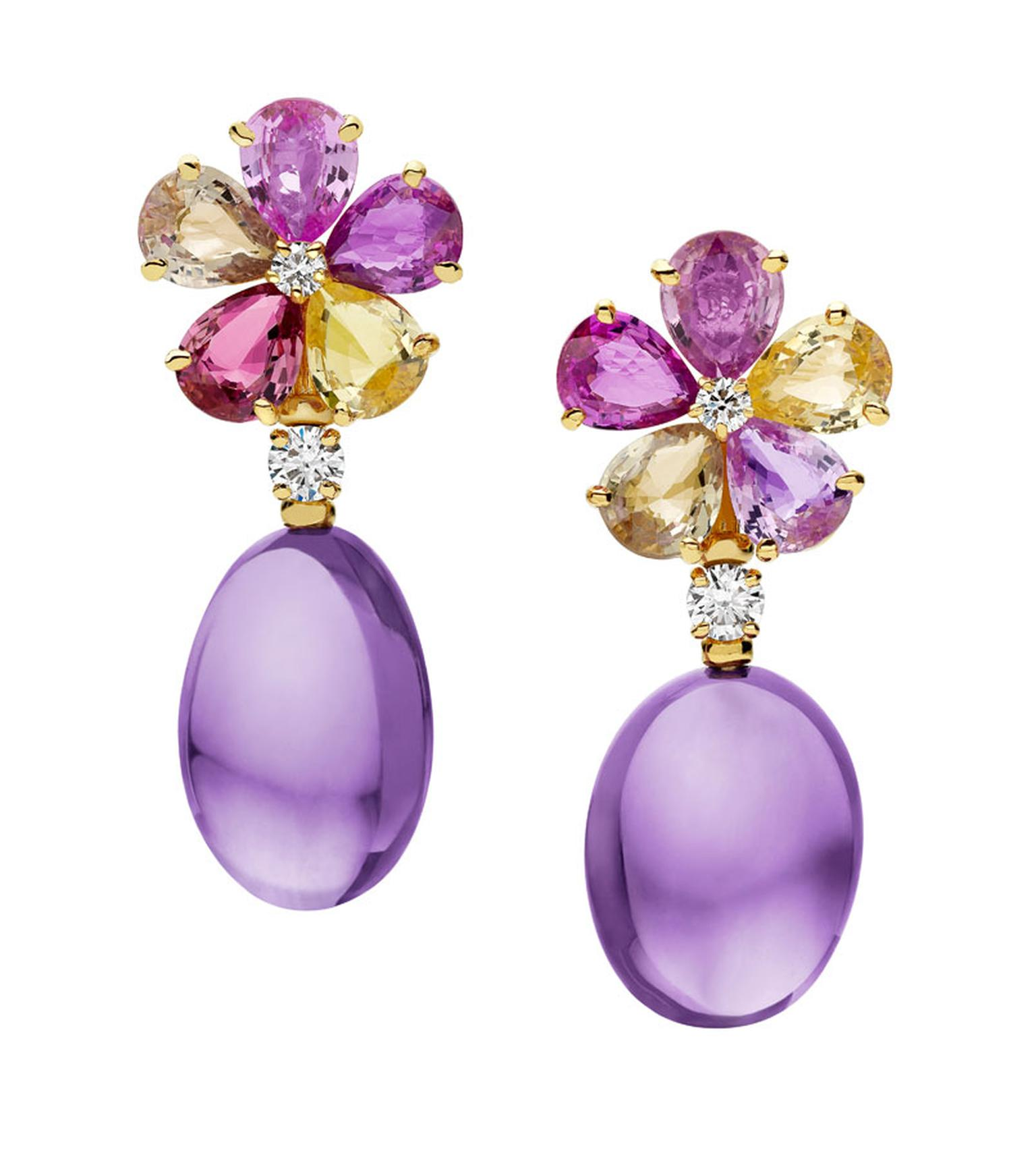 Bulgari. Mediterranean Eden yellow gold earrings mounting fancy sapphires, amethysts, diamonds and pave´ diamonds. Price-from £16.700,00