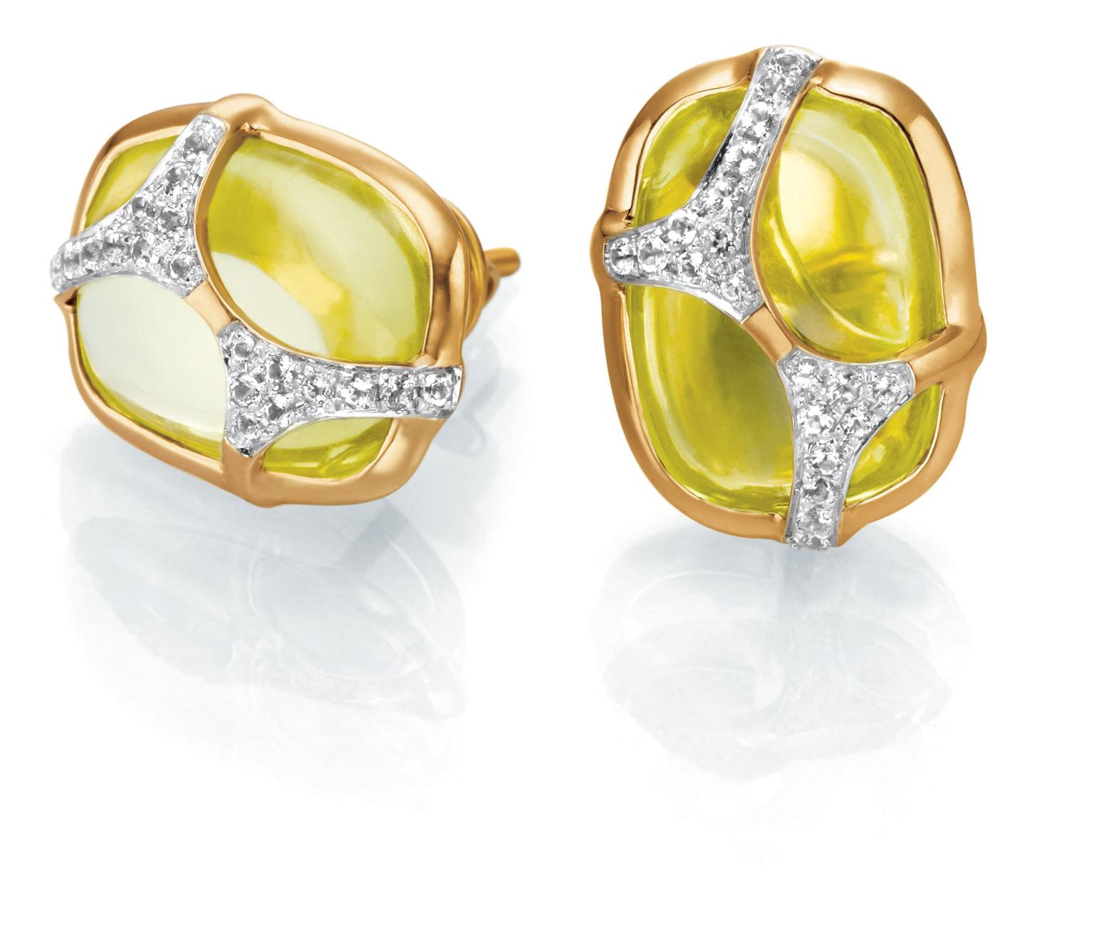IVA 2 gold ear studs with peridots and diamonds   Tanishq   The ...