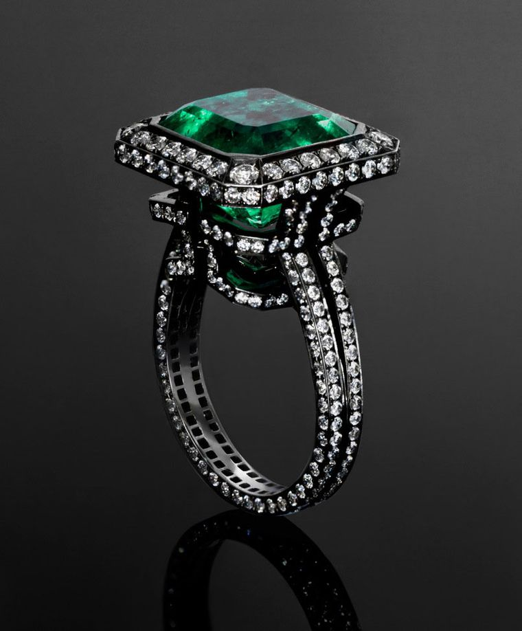 Jack du Rose Emerald Labyrinth ring set with a 9.196ct emerald in blackened white gold (£56,000).