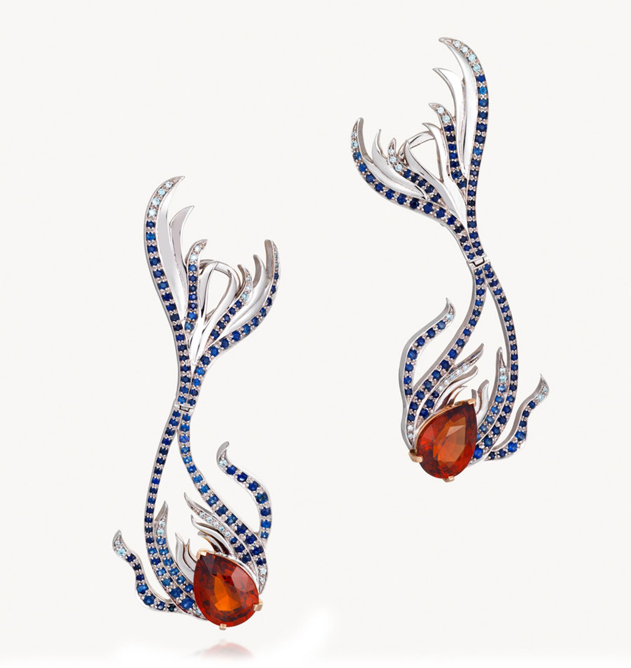 Goldsmiths-Kovanovic-Milena-Sirena-Earrings-18ct-white-and-rose-gold-with-ceyson-blue-sapphires-blue--diamonds-a-spessartine-garnets