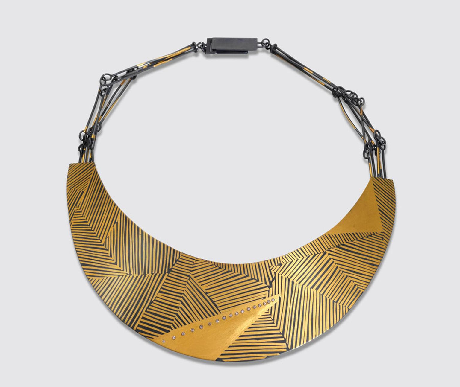 Goldsmiths-Patel-Shivani-Linear-Necklace-oxidised-silver-24k-gold-coloured-diamonds
