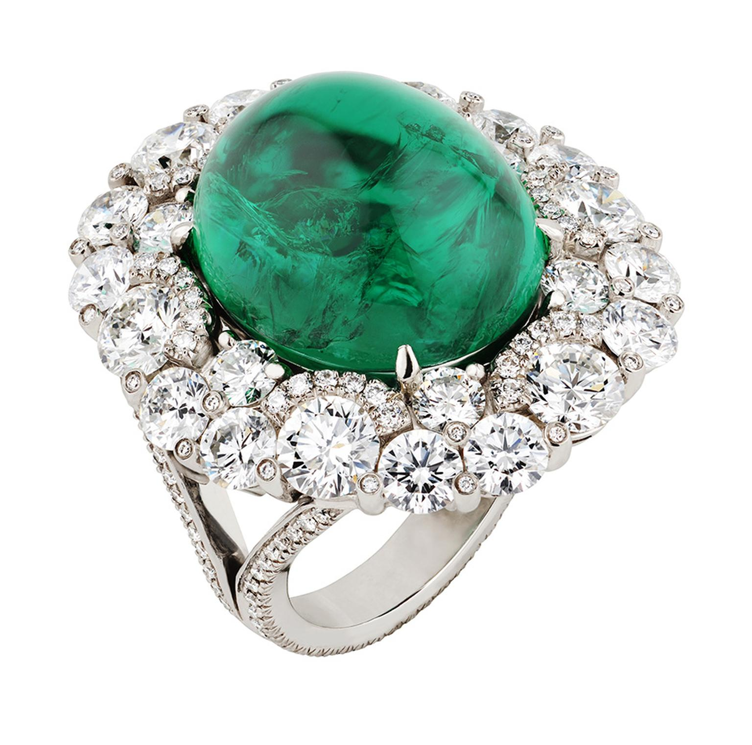 Fabergé Solyanka 14.5ct emerald ring set in platinum with 263 diamonds as worn by Naomi Watts at the SAG Awards 2013. The emerald is ethically sourced from Gemfields' Zambian mine.