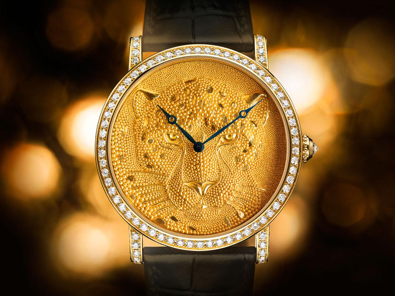 Cartier's 2013 Etruscan Panther Rotonde de Cartier 42mm watch with gold granulation