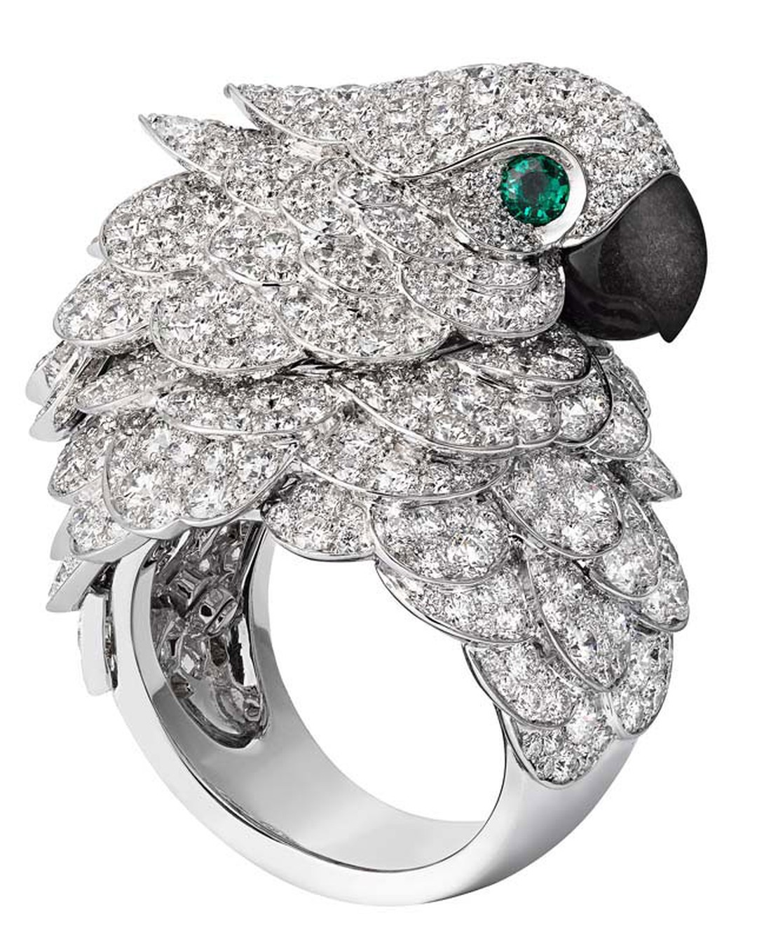 Cartier Fabuleux parrot watch and ring; watch and ring in rhodium-plated white gold set with brilliant-cut diamonds, beak in mother of pearl, eyes set with emeralds.