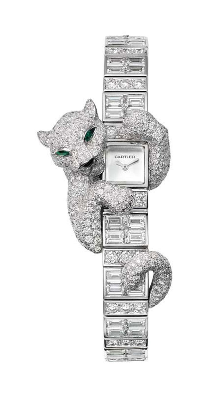 Cartier Fabuleux Baguette Panthère watch; case and bracelet in white gold set with brilliant-cut and baguette-cut diamonds.