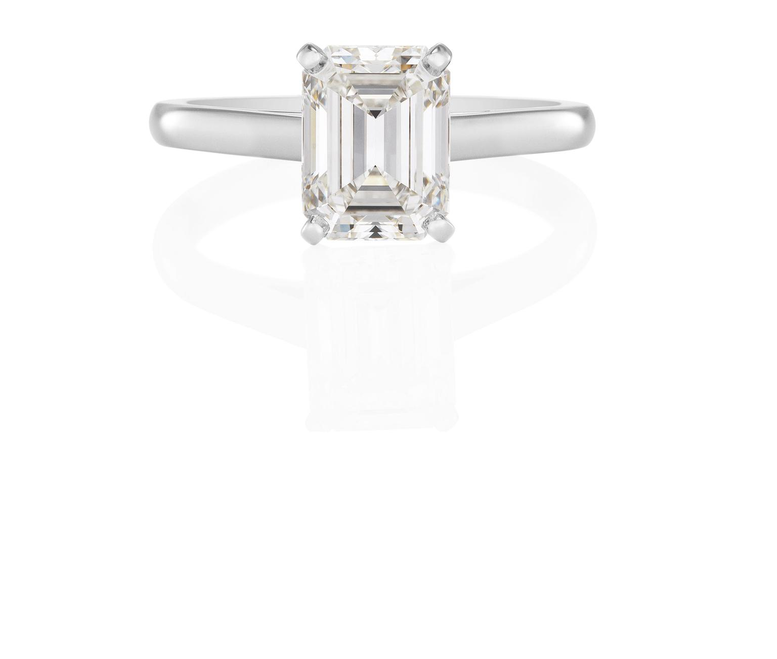 engagement trio ring de cut platinum solitaire db emerald classic