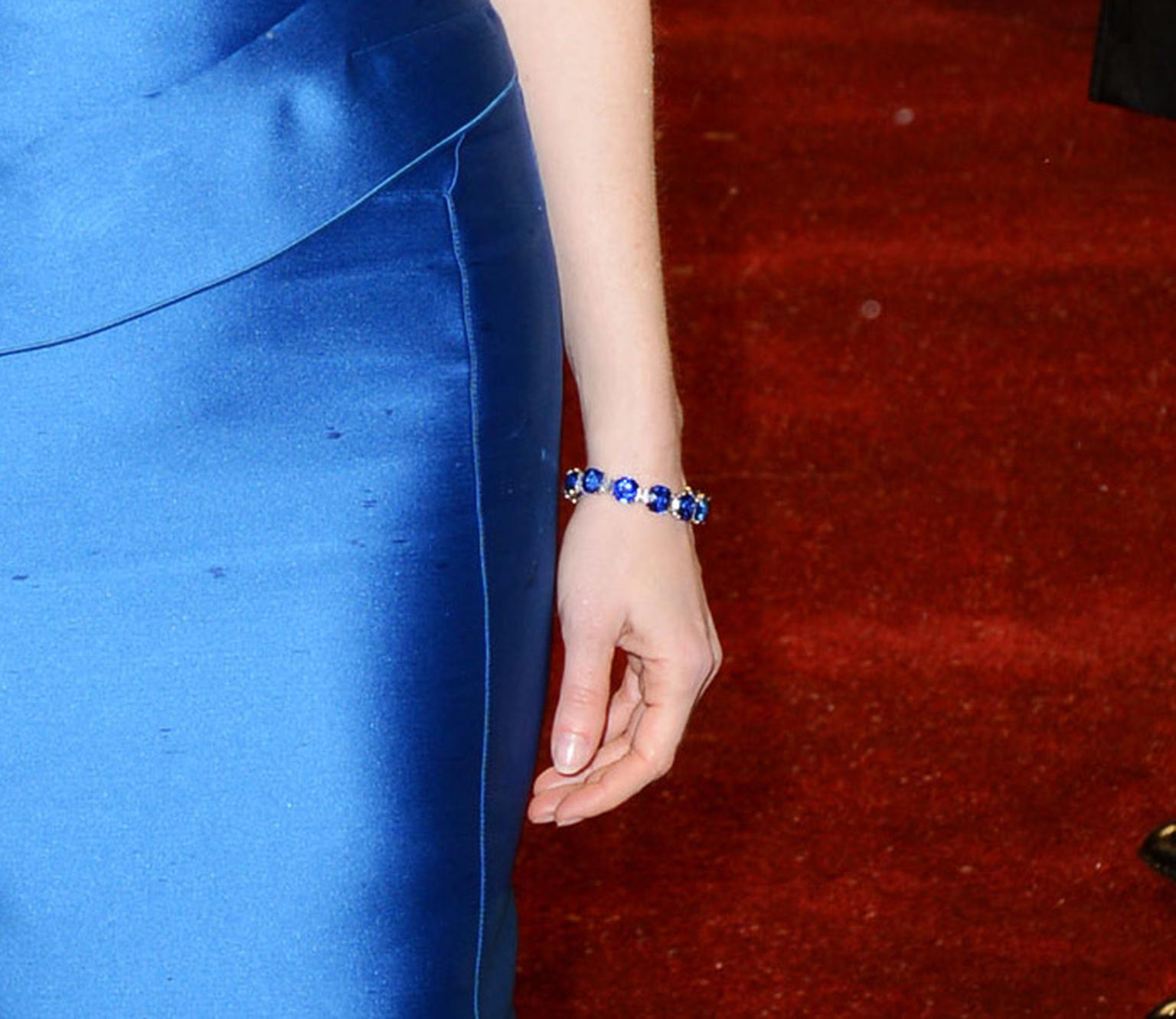 BAFTA 2013 nominee Jessica Chastain wore a Harry Winston sapphire and diamond bracelet to match her earrings