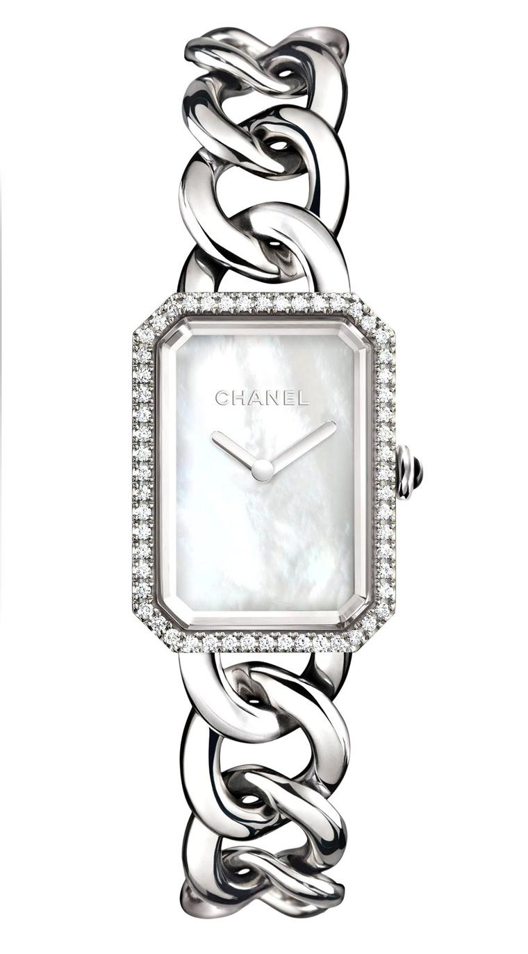 Chanel-Premiere-watch-acier-diamants-cadran-nacre-GM-H3255