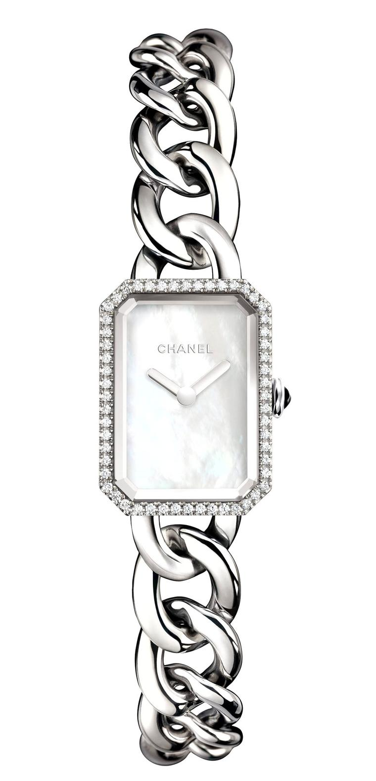 Chanel-Premiere-watch-acier-diamants-cadran-nacre-PM-H3253