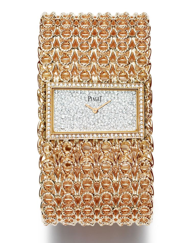 Piaget Couture Précieuse gold chain cuff watch in rose gold set with 400 brilliant-cut diamonds (approx. 2 ct).