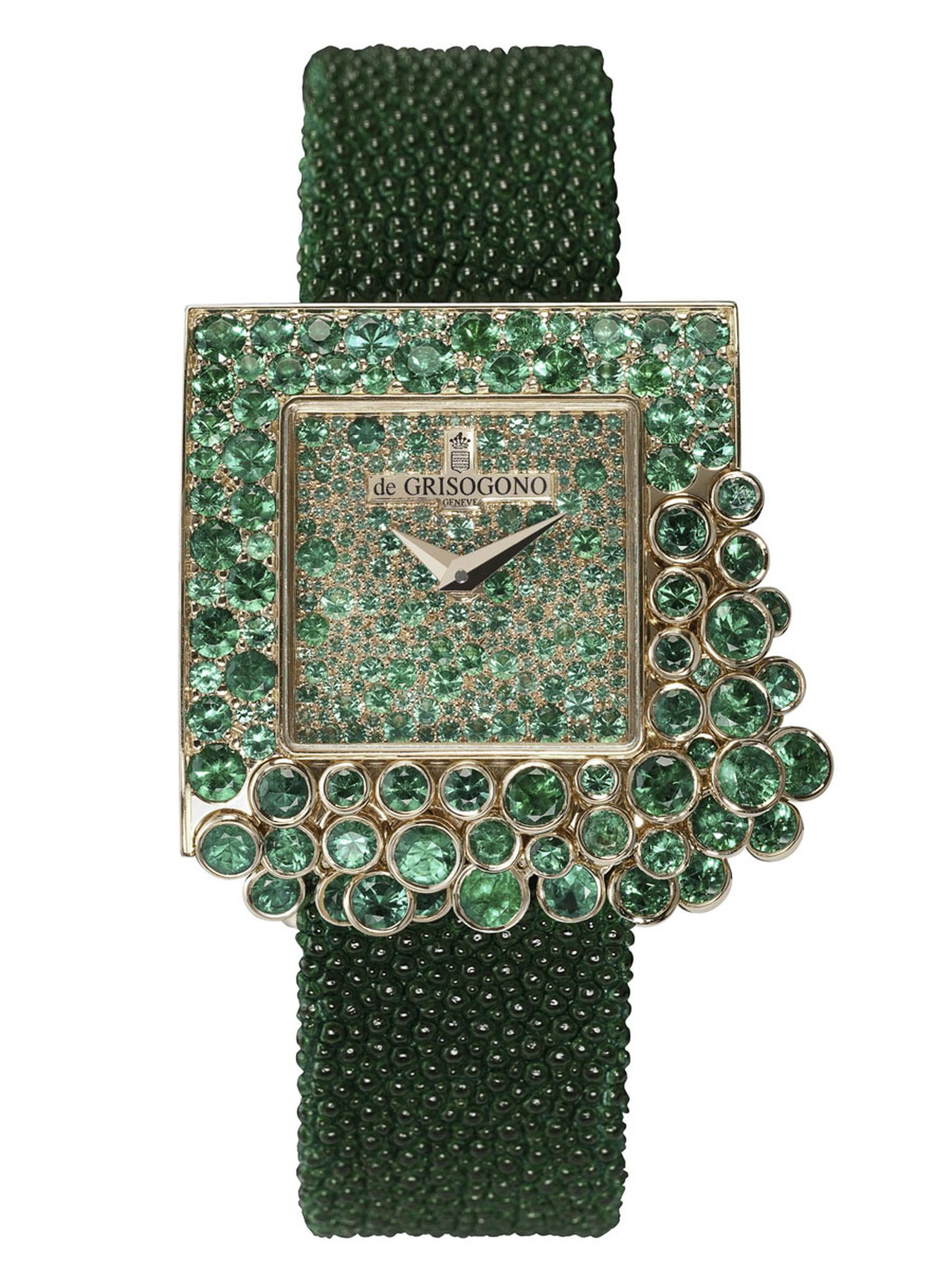De GRISOGONO 'Sugar' watch in full-pavéd pink gold, with gem-set sides and back case set with 476 emeralds at 8ct.