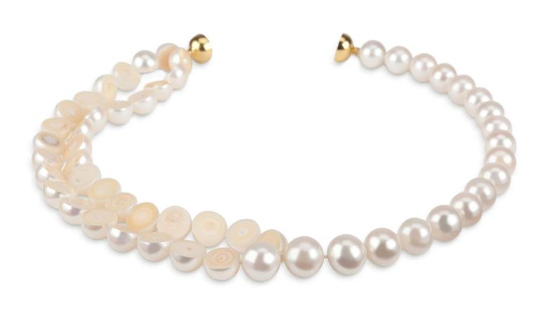 Melanie Georgacopoulos M/G Tasaki necklace with sliced 12mm white freshwater pearls and  yellow gold clasp.