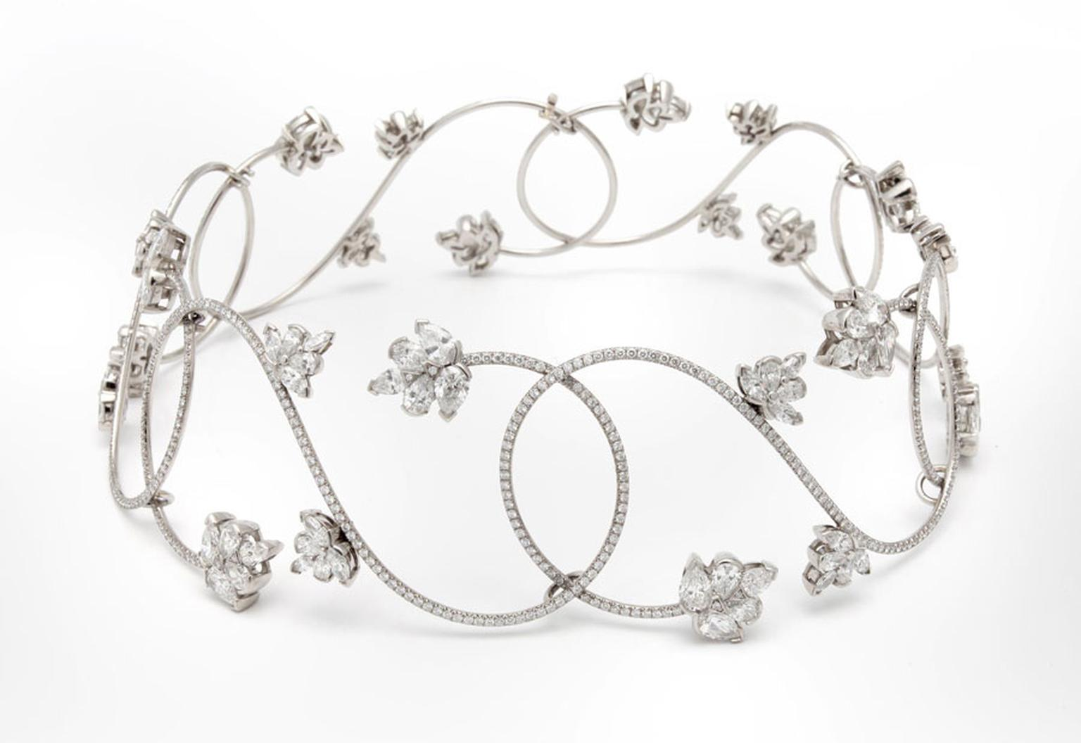Argyle-A-sensuous-choker-set-in-platinum--with-a-delicate-flower-design-enhanced-by-25tc-tw-diamonds