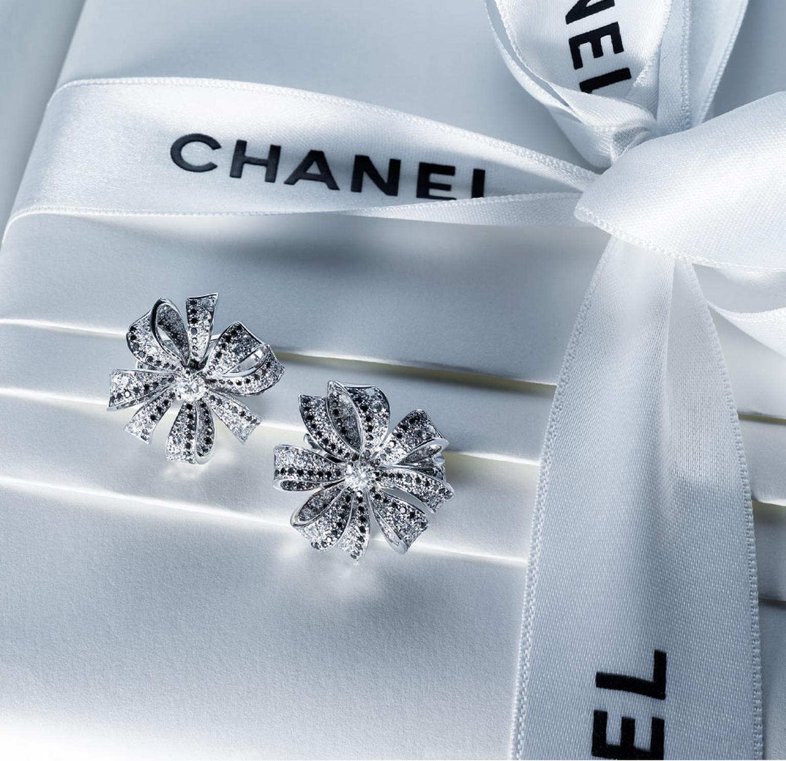 Chanel Boucles de Came´lia earrings in white gold, white diamonds and black diamonds. MAIN PIC