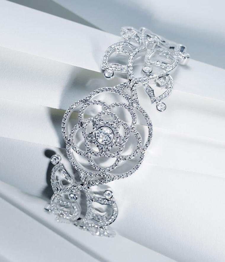 Chanel Came´lia Brode´ cuff in white gold set with diamonds