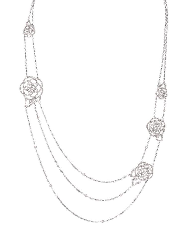 Chanel Came´lia Brode´ sautoir in white gold and diamonds. Price from £24,575