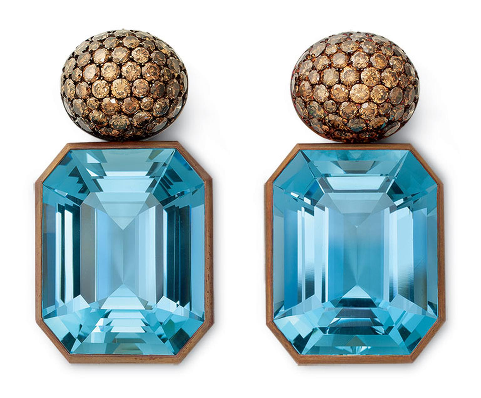 Hemmerle Earrings copper, white gold, Aquamarines