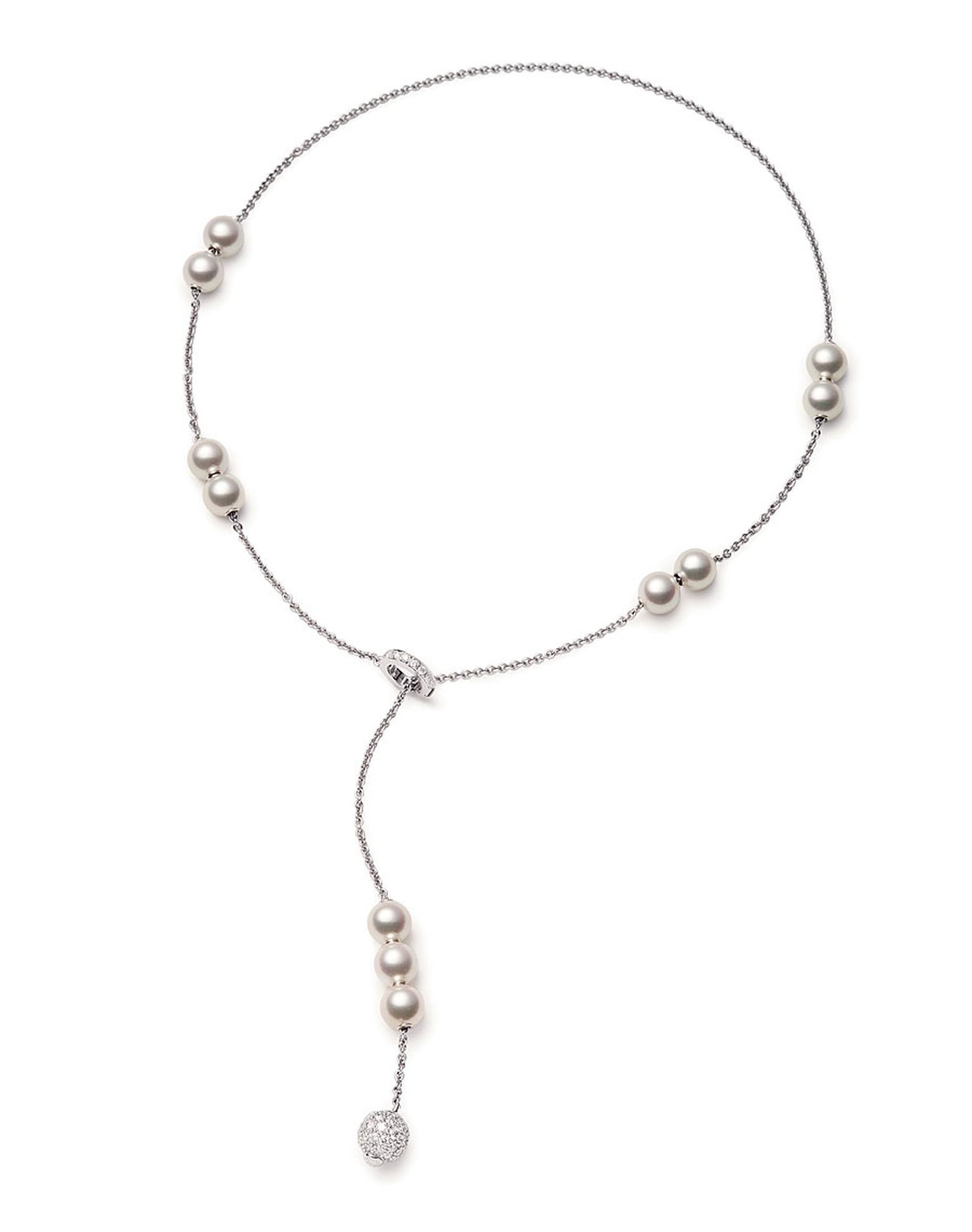 Mikimoto Akoya pearls in motion necklace. Akoya pearls, diamonds and white gold 2,500
