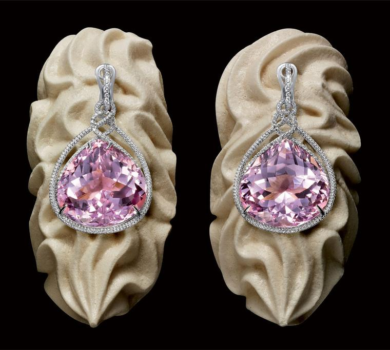 Chopard Chocolate Temptations Earrings from the Temptations collection, adorned with two pear shaped kunzites, paved with brilliant cut diamonds and set in white gold POA