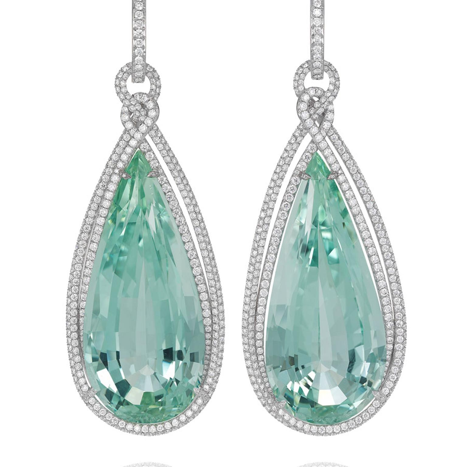 Chopard Chocolate Temptations Earrings from the Temptations collection, suspending two pear shaped green beryls paved with diamonds and set in white gold POA