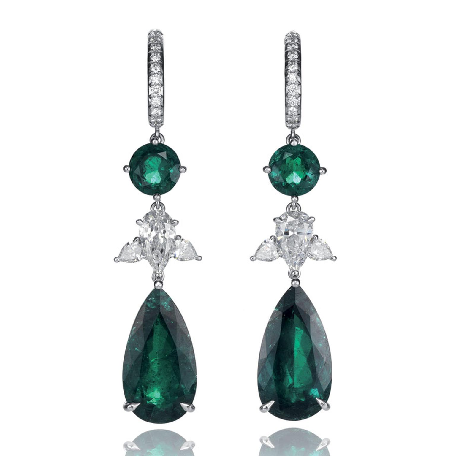 Chopard Chocolate Temptations Earrings, suspending two pear shaped emeralds, adorned with two round emeralds and pear shaped diamonds, set in white gold POA