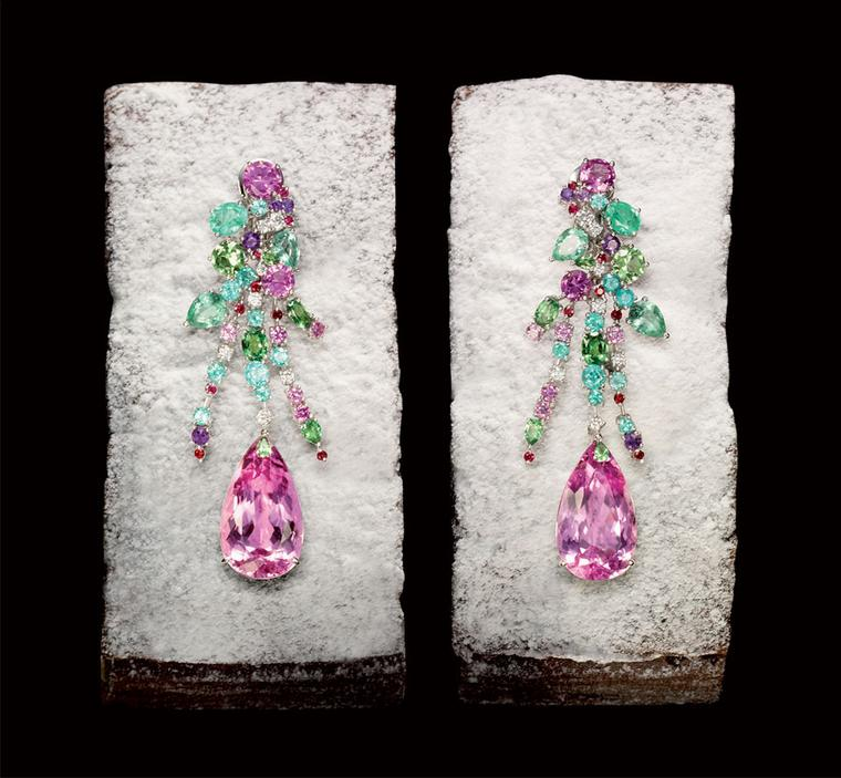 Chopard Earrings from the Temptations collection, set with 2 pearshaped kunzites,  diamonds, amethysts, tourmaline paraibas, rubies, tsavorites and pastel pink sapphires POA