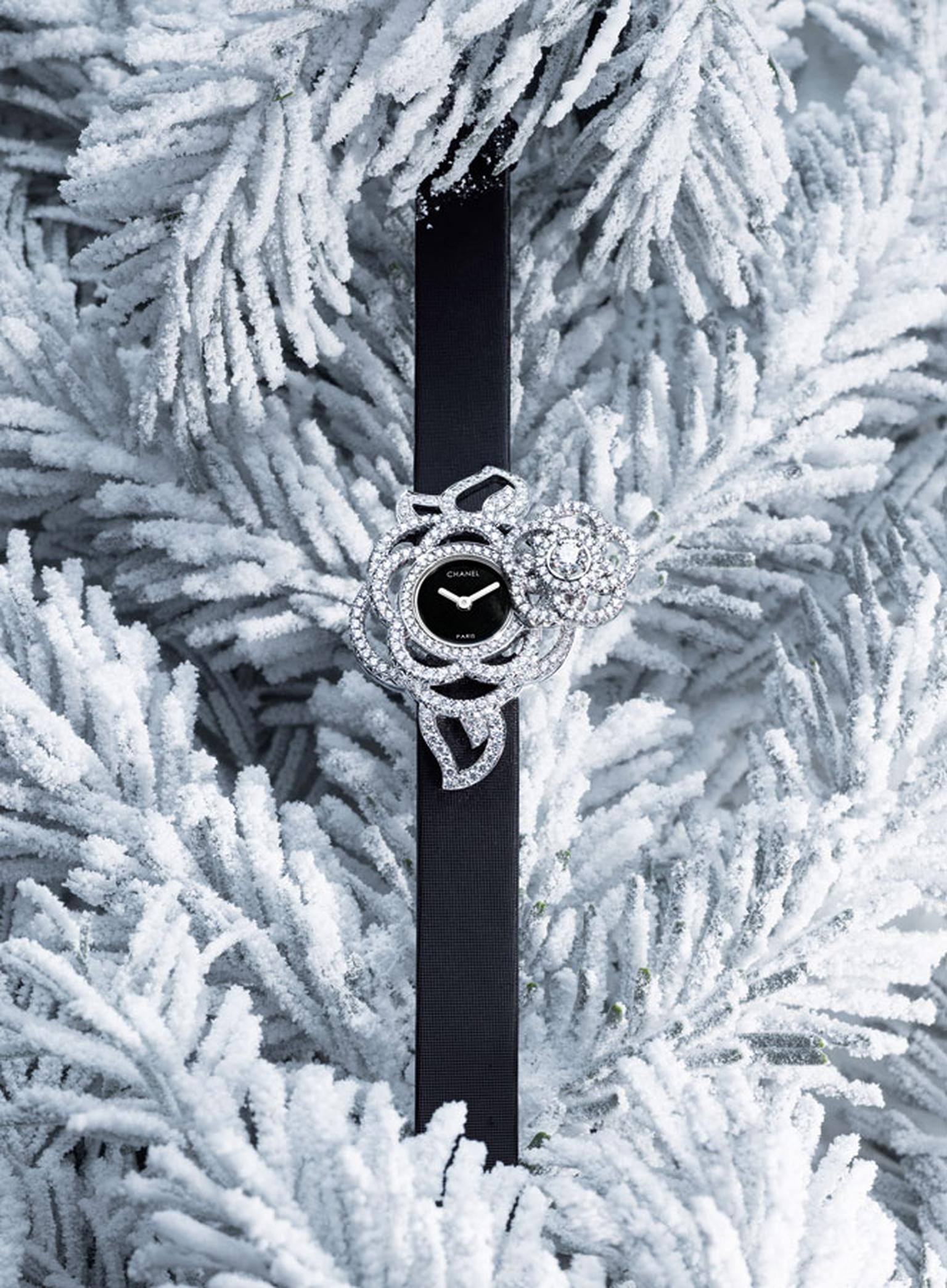 Chanel Came´lia Brode´ secret wtch in white gold and diamonds with black satin strap. Open 2