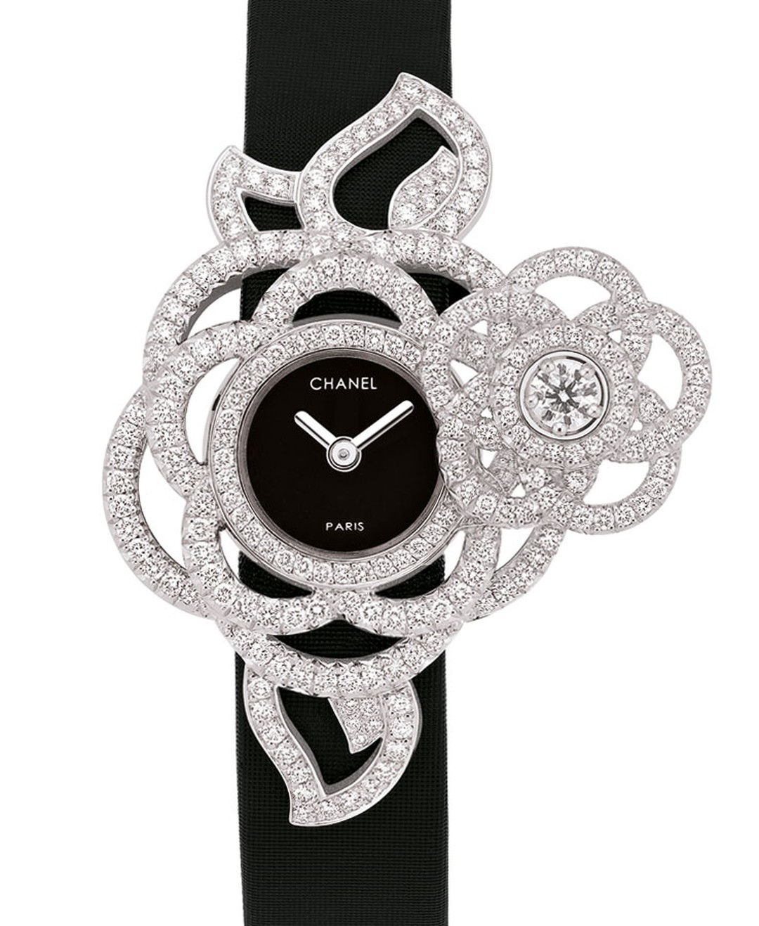 Chanel Came´lia Brode´ secret wtch in white gold and diamonds with black satin strap. Open