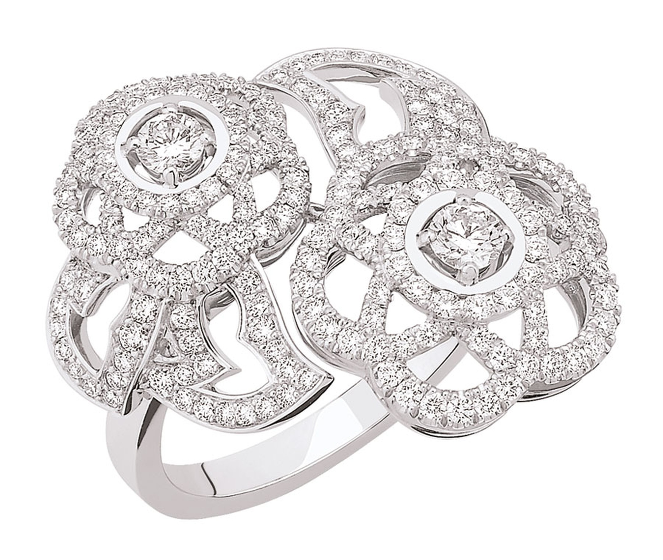 Chanel Came´lia Brode´ Toi & Moi medium version ring in white gold set with diamonds.