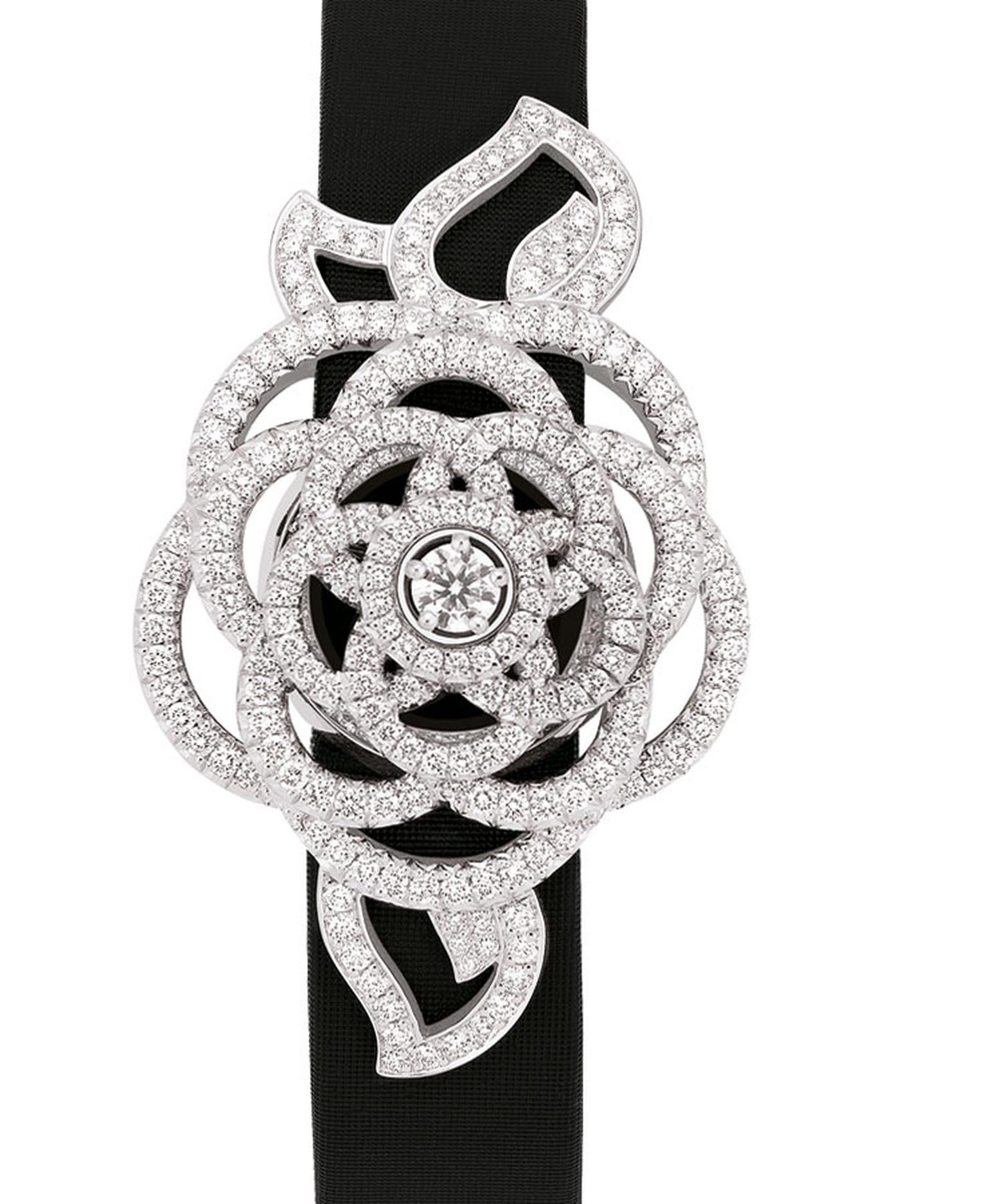 Chanel Came´lia Brode´ secret wtch in white gold and diamonds with black satin strap. Closed