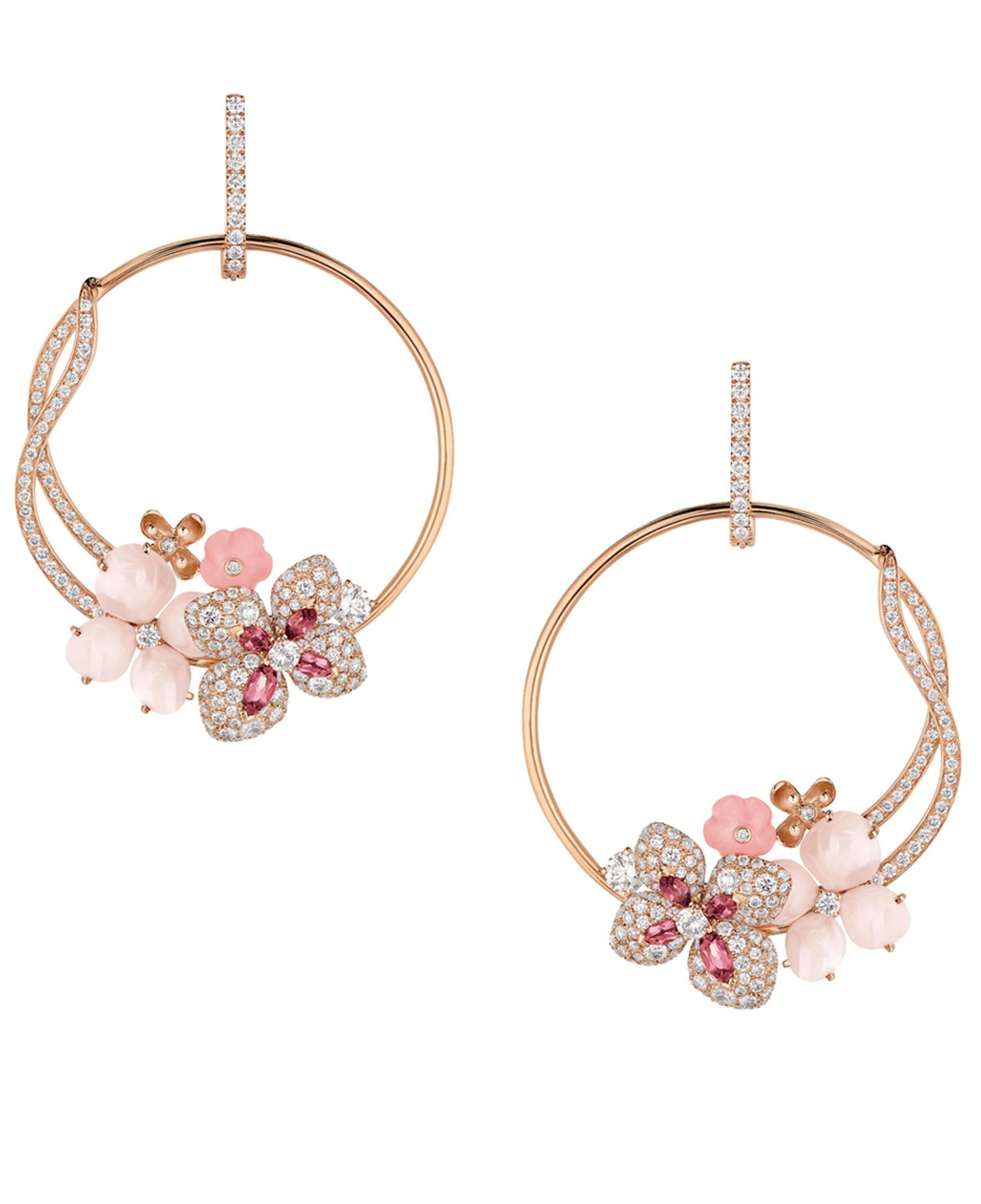 Chaumet Hortensia hoop earrings in pink gold set with angel-skin coral, pink opal, pink tourmalines and diamonds.