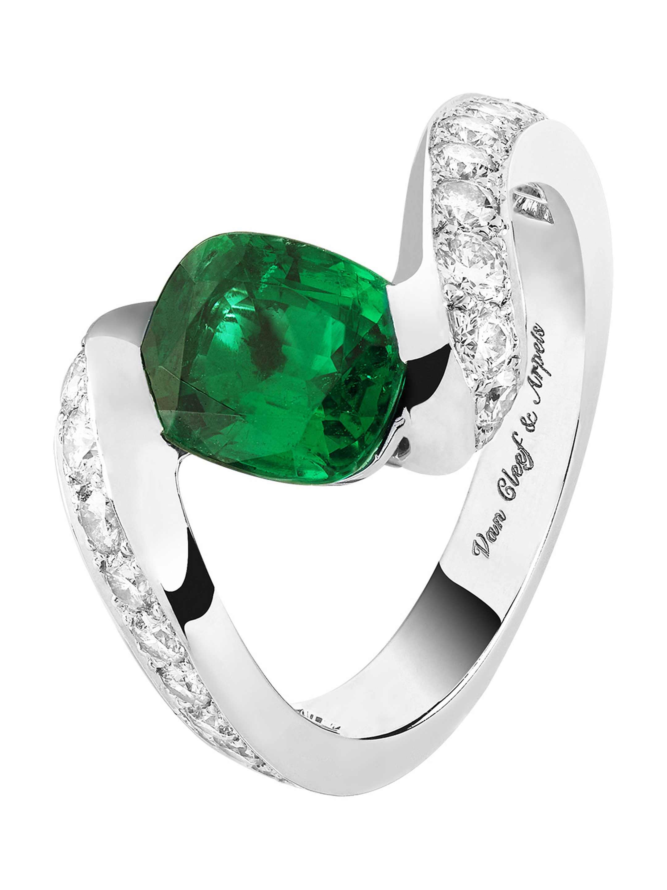 Van Cleef & Arpels Hirondelle Solitaire in platinum, set with round diamonds and a 1.79ct cushion-cut emerald.