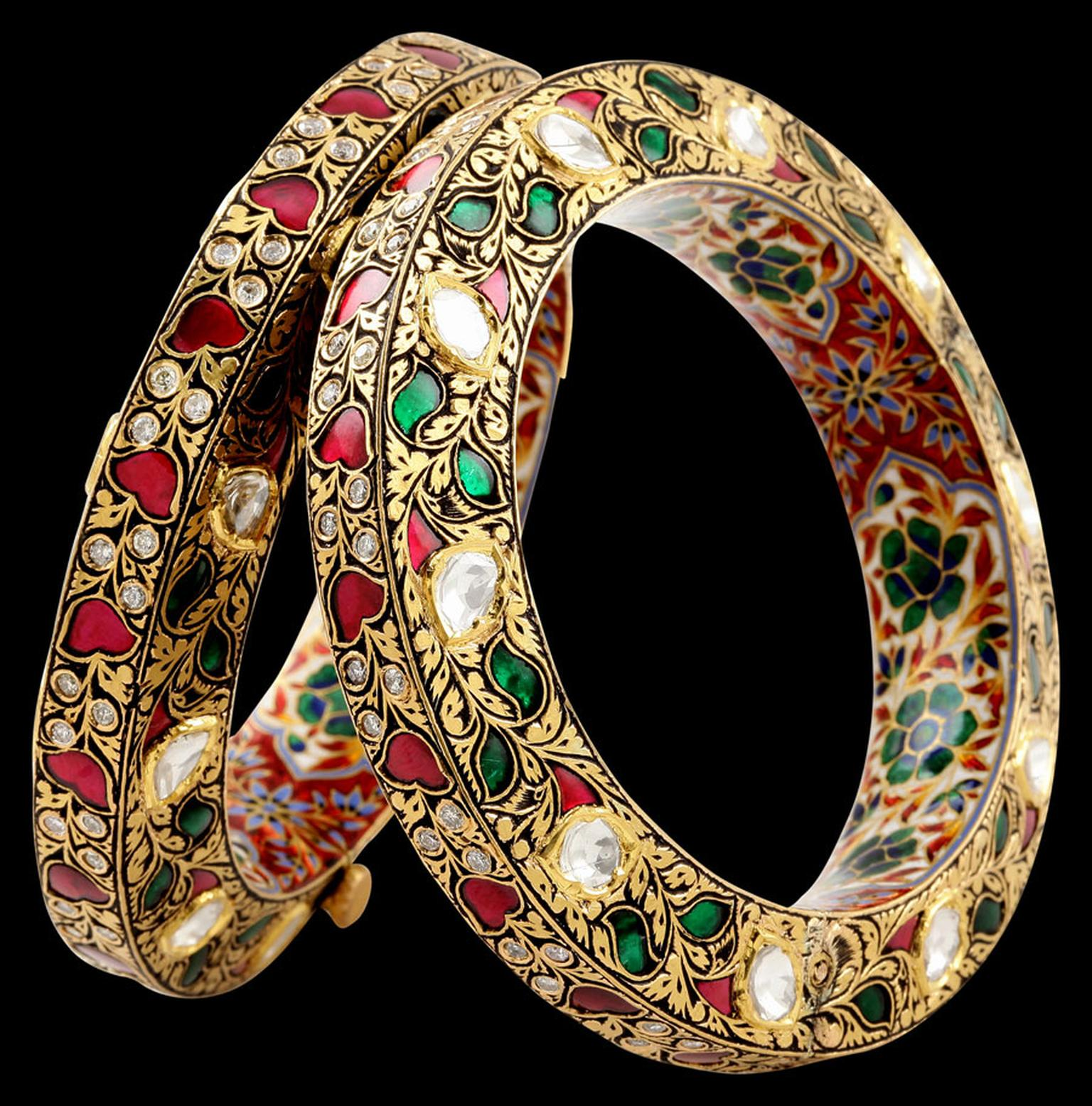 Sunita-Ruby-Emerald-3D-Bangle