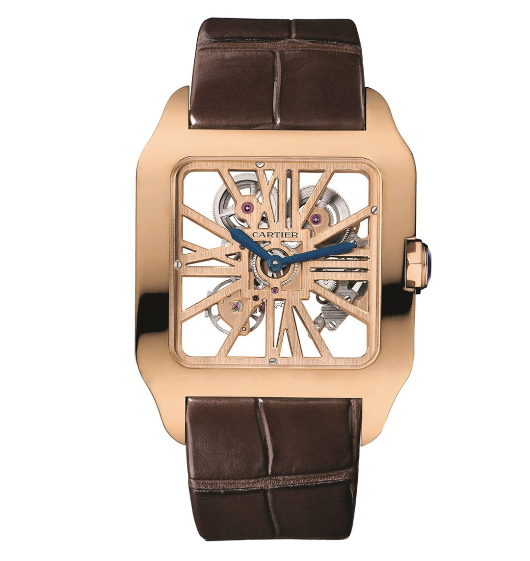 Cartier Santos-Dumont Skeleton watch in rich rose gold with a skeletonised dial, large Roman numerals and a front-row view of the movement.