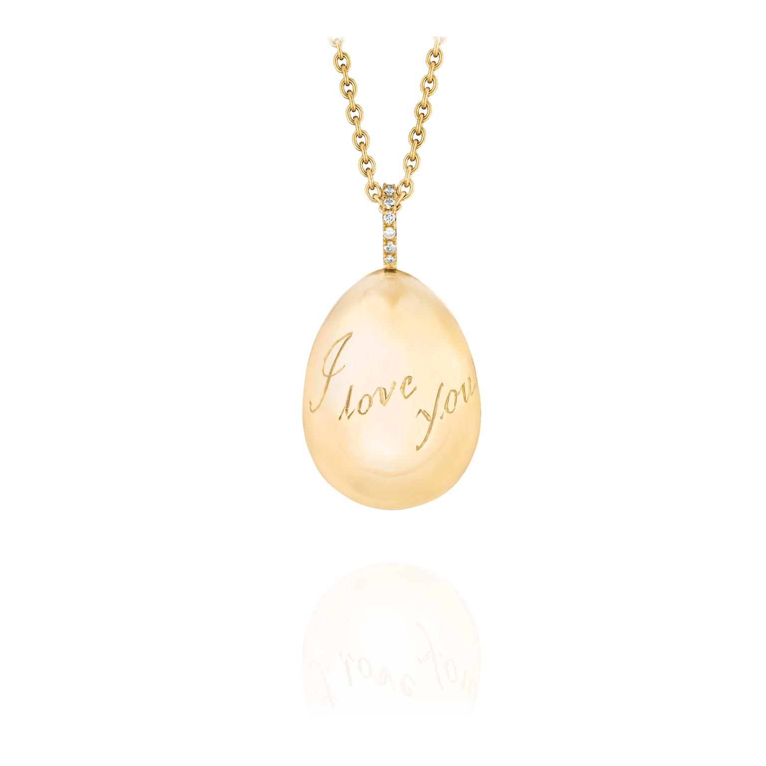 Yellow gold egg pendant with diamonds faberg the jewellery editor faberge egg pendant zoom aloadofball Choice Image