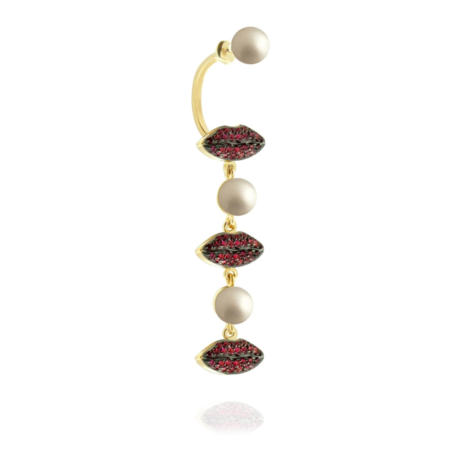 Delfina Delettrez 'Lips' ruby earring Cheap Sale Brand New Unisex Sale Pick A Best Amazing Price Sale Online Sale Discount Free Shipping Fast Delivery 74Cheu