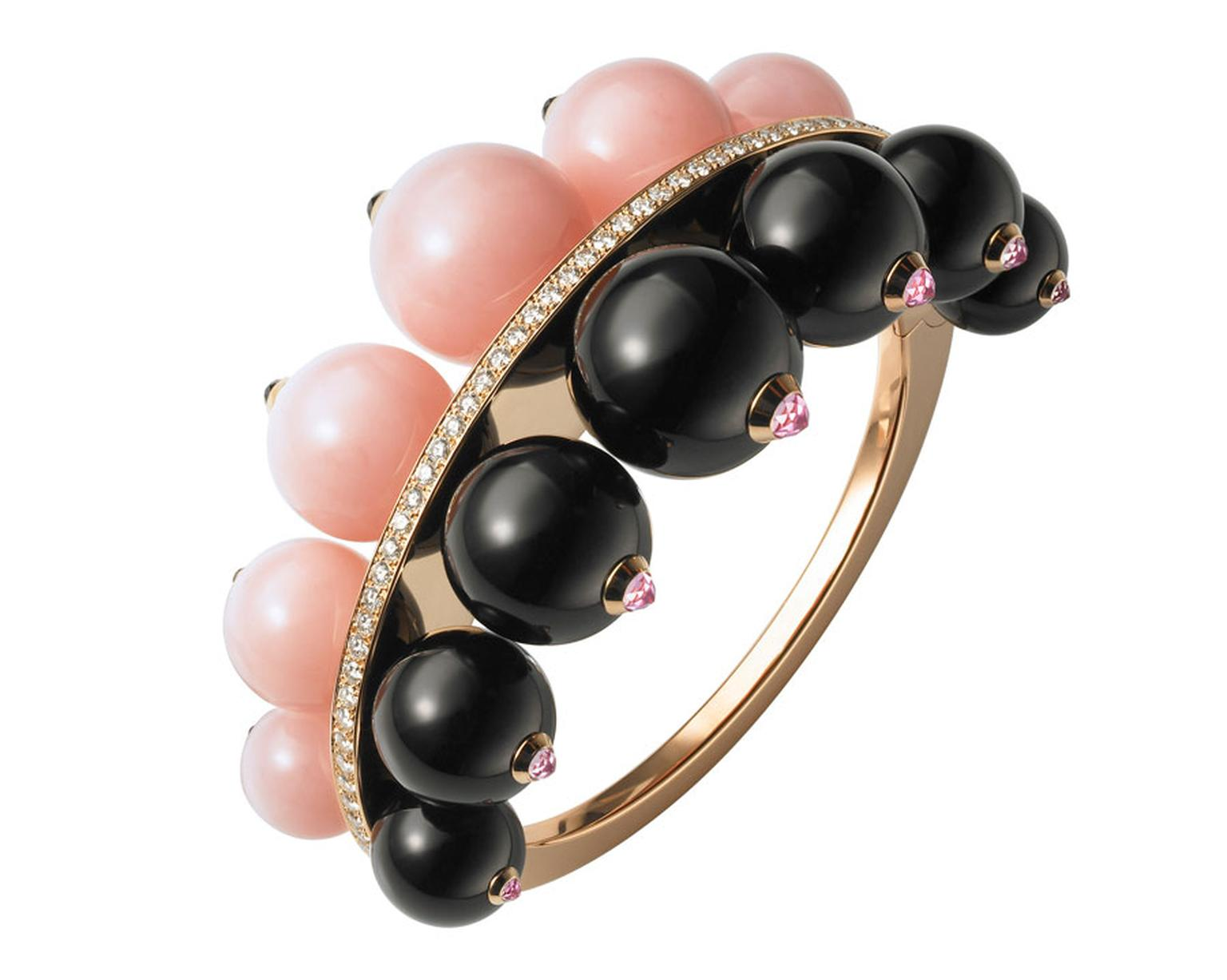 Cartier bracelet from the Évasions Joaillières Collection in pink gold, set with pink opals, onyx and diamonds