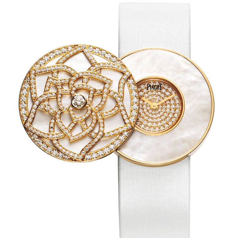 Piaget Limelight Garden Party Secret Watch. Pink gold, white mother of pearl and diamond POA