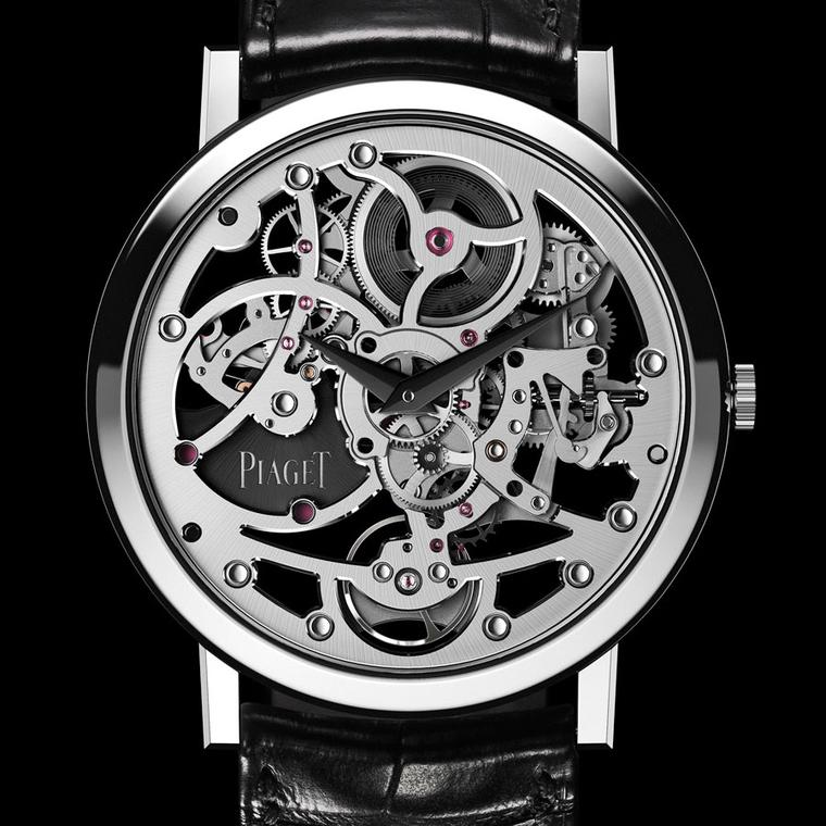 Piaget Altiplano Skeleton white gold, black and white platinum with a black alligator strap