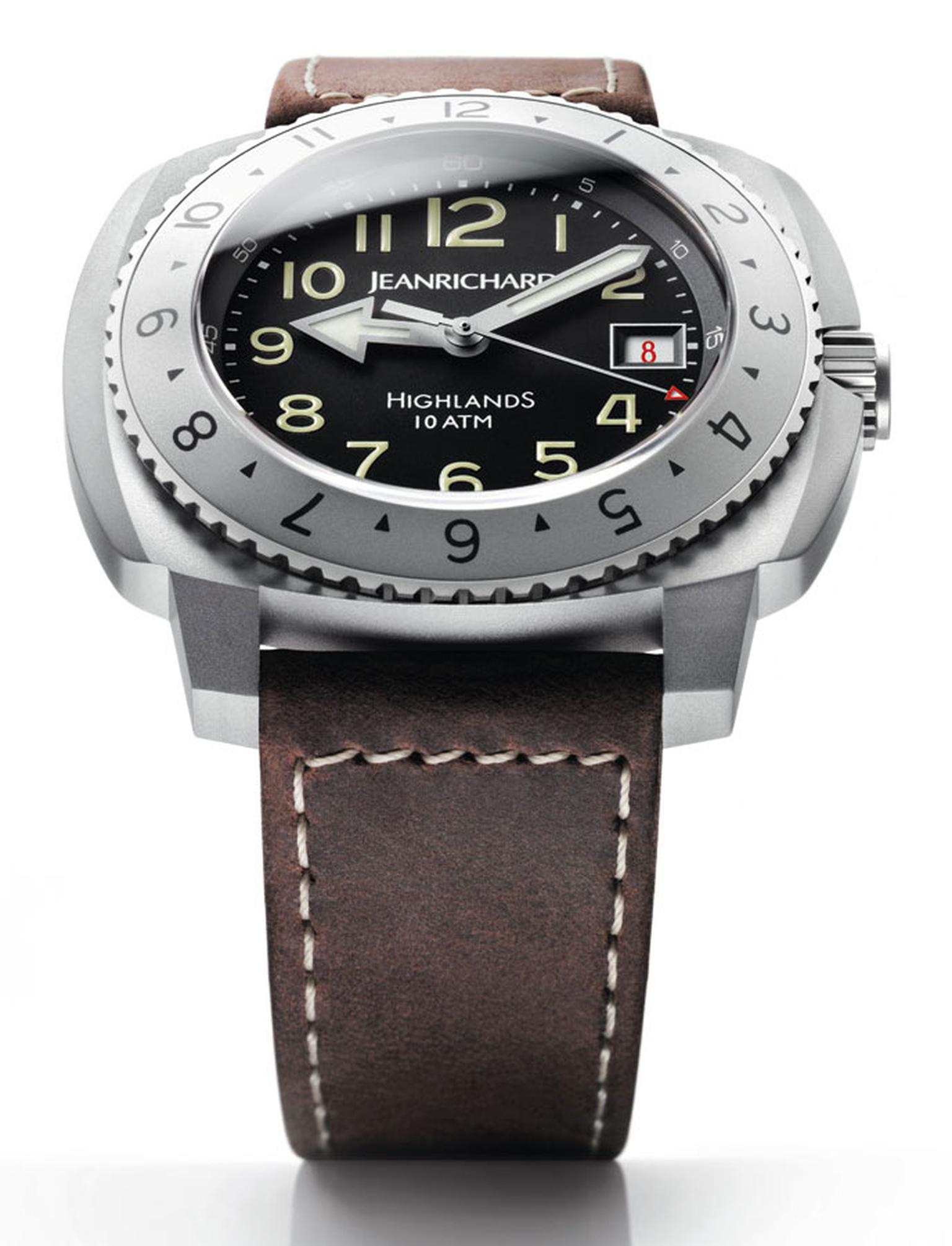 Jean Richard Highlands Big Life Ebony watch steel with a sand-blasted finish and calfskin strap POA