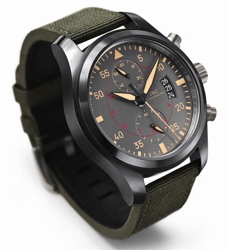 IWC-Pilots-Watch-Chronograph-TOP-GUN-Miramar-Chronograph-comes-in-a-ceramic-case-with-grey_beige-and-red-detail-dial,-the-bracelet-is-made-of-calf-leather-Price-from-9750-