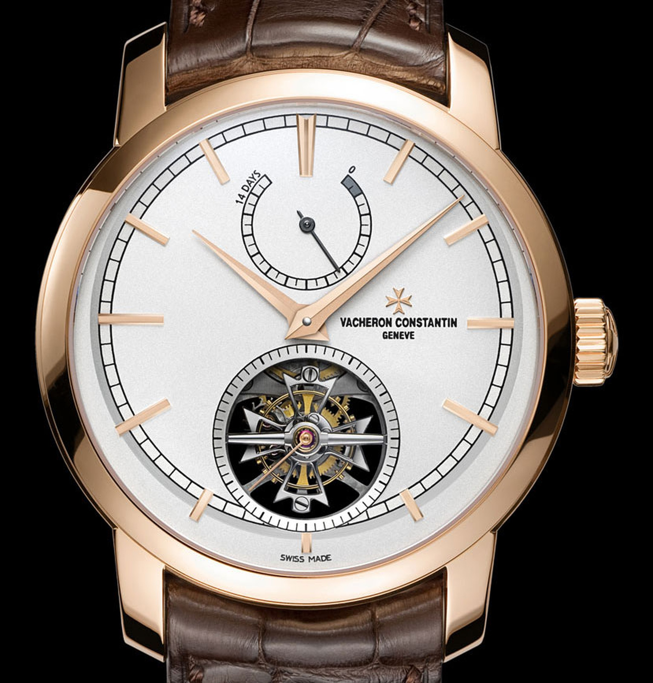 Vacheron-Constantin-Patrimony-Traditionnelle-14-day-Tourbillon-pink-gold,-transparent-back-fitted-with-a-sapphire-crystal-and-brown-alligator-leather-strap